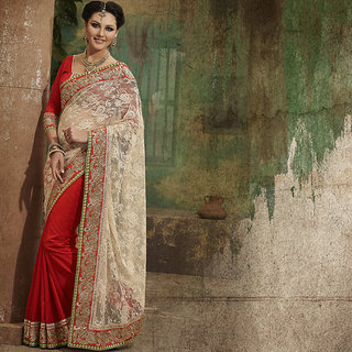IshiMaya Red and Beige Designer Party wear Saree