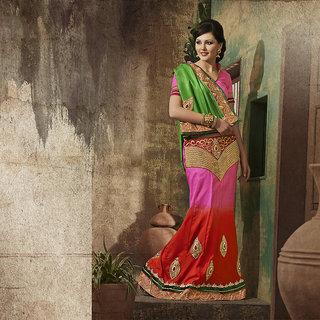 IshiMaya Red and Pink Designer Party wear Saree
