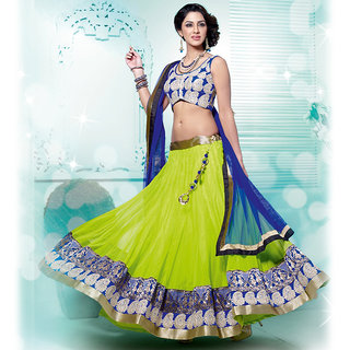 IshiMaya Green and Blue Lehenga Saree
