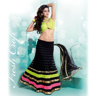 IshiMaya Black and Green Lehenga Saree