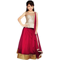 Najara Fashion Maroon Net Lehenga Choli And Dupatta
