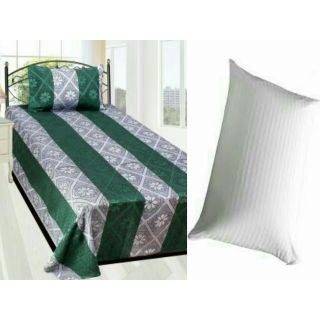 Super Cotton Green Bedsheet With Pillow Cover And Pillow Filler