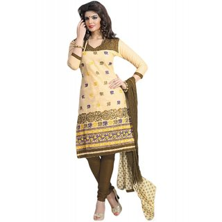 Salwar Studio Fawn & Beige Cotton Unstitched Churidar Kameez