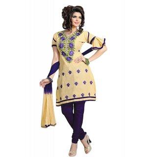 Salwar Studio Fawn & Blue Cotton Unstitched Churidar Kameez