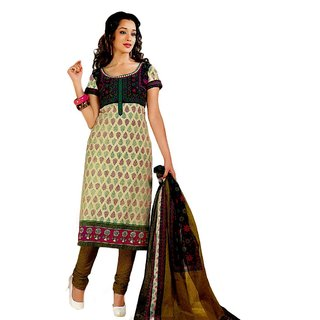 Salwar Studio Fawn & Mustard Cotton Unstitched Churidar Kameez