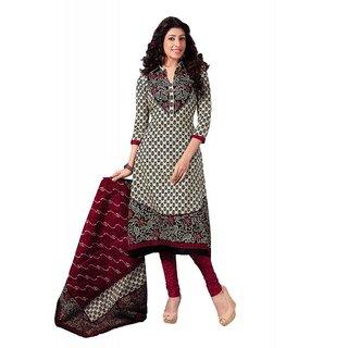 Salwar Studio Fawn & Red Cotton Unstitched Churidar Kameez