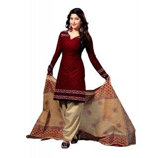 Salwar Studio Lovely Red & Fawn Cotton Unstitched Churidar Kameez