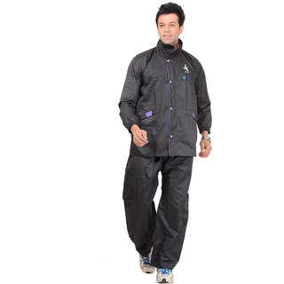 ALLWIN Mens Gents Raincoat Rainsuit Over Coat With Cap, Pant, P-123ABLACKXL