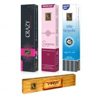 Zed Black Premium Incense Sticks Combo Of Crazy, Sigma, Attar Rajnigandha + Free Vaayu Natural Incense Stick Of Rs 75