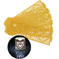Imported 6Pcs Paper Heart Led Tea Light Holders Wedding Home Party Decoration Gold