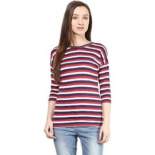 Hypernation Striped Women's Round Neck Red, White, Blue T-Shirt-HYPW0618