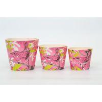Deziworkz Decorative Ceramic Birdie Print Pink Planter (Set Of 3)
