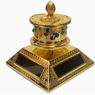 BUDDHIST OM MANI GOLDEN COLOUR 4 SOLAR CELL TIBETAN PRAYER WHEEL class=