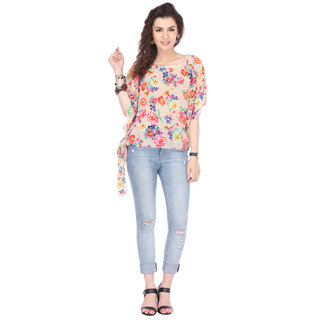 Varanga Multicolor Georgette Round Neck Half Sleeve Printed Top