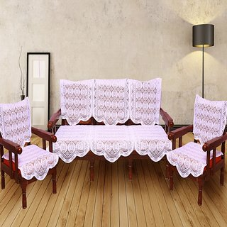 SNS CREAM PLAIN NET SOFA COVER SET OF 10