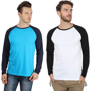SayItLoud Full Sleeve Two Tone Solid T Shirt Combo
