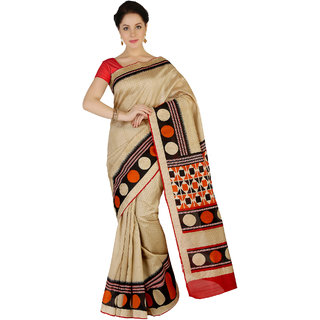 Saree Mall Beige Bhagalpuri Printed Saree With Unsitiched Blouse BGP2539D