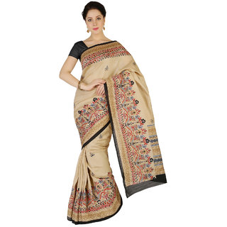 Saree Mall Beige Bhagalpuri Printed Saree With Unsitiched Blouse BGP2563C