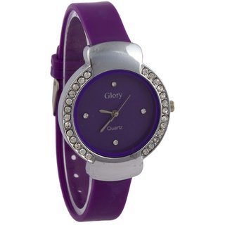 Addic Glory Circular Purple Dial With purple Straps Crystal Studded Watch For Women