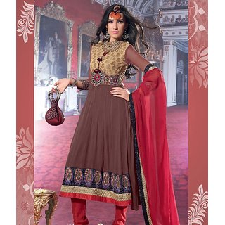 Rida Fashions Brown Ready To Stitch Suit
