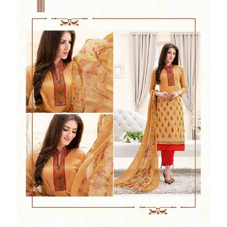Thankar Cream  Beige Embroidery Chanderi Dress Mateirial