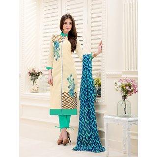 Thankar Cream  Aqua Embroidery Chanderi Dress Mateirial