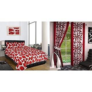 iLiv Combo-Buy Double Bed Sheet and Get Brown Kolaveri Door Curtain Set Of 2-3DDB-06