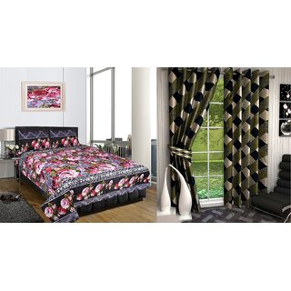 iLiv Combo-Double Bed Sheet With Green Box Window Curtain Set Of 2-3DDB-11