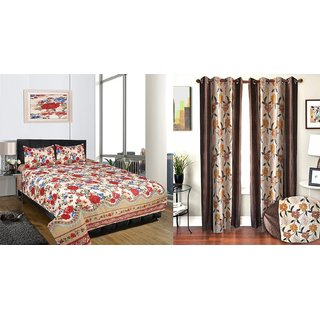 iLiv Combo-Double Bed Sheet With Brown Floral Window Curtain Set Of 2-3DDB-17