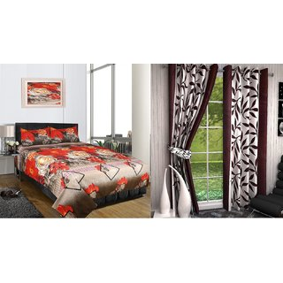 iLiv Combo-Buy Double Bed Sheet and Get Brown Kolaveri Door Curtain Set Of 2-3DDB-02
