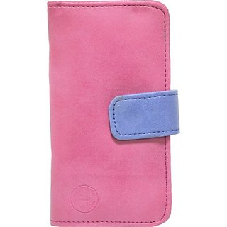 Jojo Flip Cover for Microsoft Lumia 535 (Pink, Dark Blue)