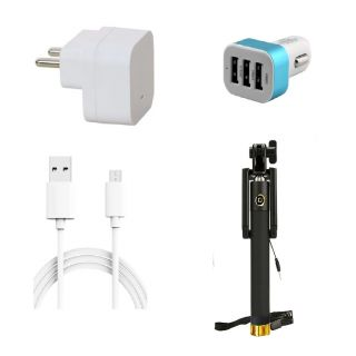 Premium Quality + Proper 1.5 Amp USB Charger + 3 meter Copper Embedded USB Cable (Data Transfer + Charging) + 3 Jack USB Car Charger + Aux Enabeled Selfie (Monopod) Compatible With Micromax Canvas Express