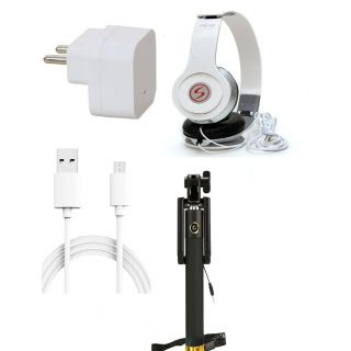 Premium Quality + Proper 1.5 Amp USB Charger + 1.5 meter Copper Embedded USB Cable (Data Transfer + Charging) + VM 46 3.5 mm Jack  Headphones + Aux Enabeled Selfie (Monopod) Compatible With iBall Andi Avonte 5