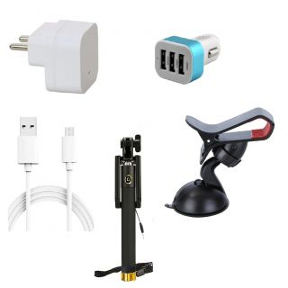 Premium Quality + Proper 1.5 Amp USB Charger + 1.5 meter Copper Embedded USB Cable (Data Transfer + Charging) + 3 Jack USB Car Charger + Aux Enabeled Selfie (Monopod) + Mobile Car Holder Compatible With Lenovo Vibe X3