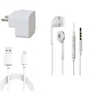 Premium Quality + Proper 1.5 Amp USB Charger + 3 meter Copper Embedded USB Cable (Data Transfer + Charging) + Universal Handsfree 3.5 mm Jack  Headphones Compatible With iBall Andi Uddaan