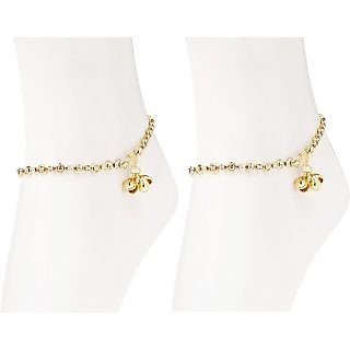 Charms Diamond Studded Gold Anklet For Women/Girls 208