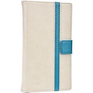 Jojo Flip Cover for Nokia E6 (White, Light Blue)