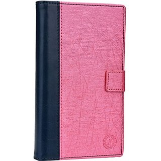 Jojo Wallet Case Cover for Huawei Ascend P6 S (Dark Blue, Exotic Pink)