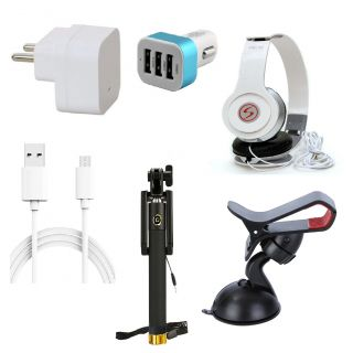 Premium Quality + Proper 1.5 Amp USB Charger + 3 meter Copper Embedded USB Cable (Data Transfer + Charging) + VM 46 3.5 mm Jack  Headphones + 3 Jack USB Car Charger + Aux Enabeled Selfie (Monopod) + Mobile Car Holder Compatible With Intex Aqua Ace 4G