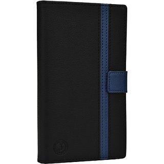 Jojo Flip Cover for Lava Iris 504q (Black, Dark Blue)