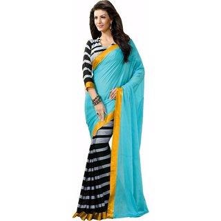 Poplin Bhagalpuri Self Design Printed Casual Sarees With Matching Blouse