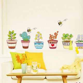 Wall Dreams Clay Flower Pots With Cute Kid Art On It With Drawings  Little Colourful Plants Cactus Yellow Flower Dandelion honey bees Wall StickerDecals 732