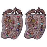 Onlineshoppee Wooden Key Holder In Mango Shape With Handicraft Design,Pack Of 2