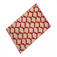 Calibr High Quality Cotton Red And Off White Cris Cross Door Mat