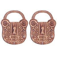 Onlineshoppee Wooden Antique Lock Shape Key Holder Size (LxBxH-13x2x17) Cm,Pack Of 2