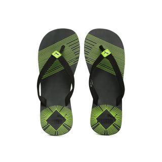 PUMA Men Black Green Printed Flip-Flops