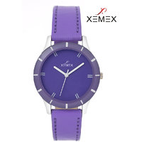 Xemex Purple Dial Analog Synthetic Leather Watch For Women'S
