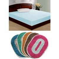 HDECOR Combo Of 2 Door Mats And Double Bed Mattress Cover 72x72