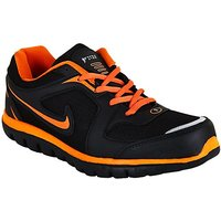 Fitze Mens Black and Orange Lace-up Running Shoes