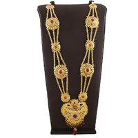 Anuradha Art Beautifully Design This Pretty Ganpati Necklace Which Is Embedded With Pink Colour Stones
